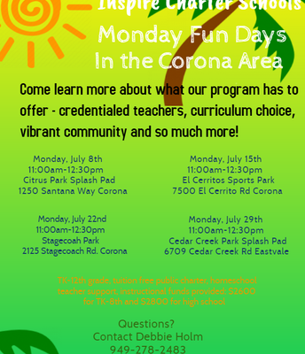 Inspire's Monday Fun Days in the Corona Area!