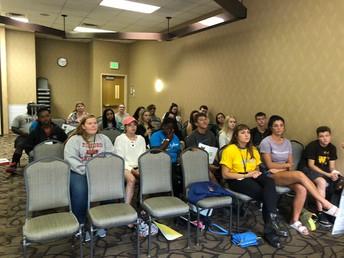 Freshmen attend a presentation about the benefits of TRiO FESP