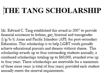 The Tang Scholarship (4/30)