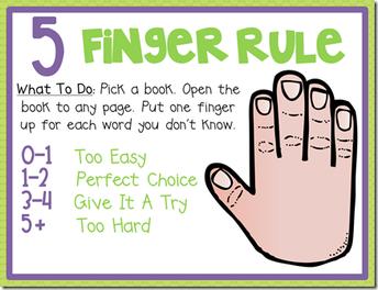 Five Finger Rule for Summer Reading