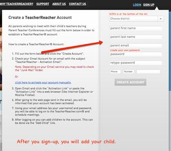 Register for a Teacher Reacher Account