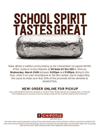 Chipotle Dine Out, March 24th