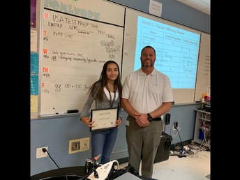 9th Grade student of the month Camila Fernandez