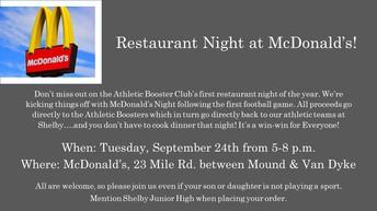 McDonald's Night    September 24th