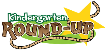 kindergarten Round Up with a green background, a gold star and lasso