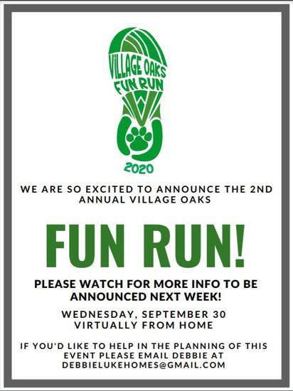 Fun Run Virtual September 30, 2020