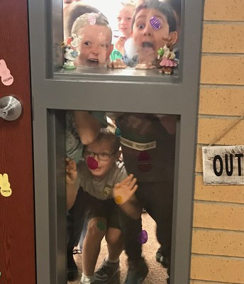 2nd grade spots the Easter Bunny!