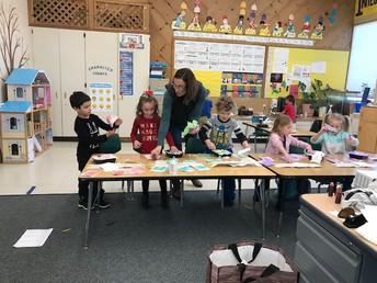 Ms. Klimek's class having some hands on learning fun!