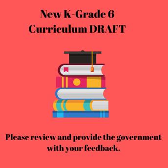 New K-Grade 6 DRAFT curriculum