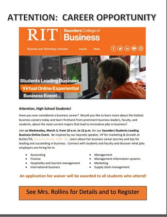 RIT Saunders College of Business Virtual Event