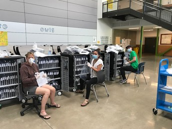 Chromebook preparation- thanks to Mrs. Allias, Mr. Mena, Ms. Salazar and especially Mrs. Vasquez for ALL of her hard work to prepare over 400 Chromebooks already!