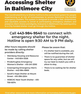 ACCESSING SHELTER in BALTIMORE CITY