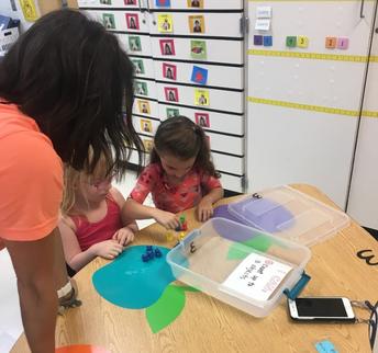 K tackling math centers in week 1!