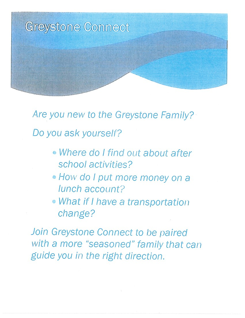 Are you new to Greystone?  Would you want to sign up to be connected with a seasoned family to learn about our school?  Sign up for Greystone Connect.