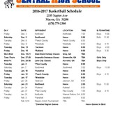 2016-17 Basketball Schedule