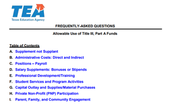 Title III Allowable Use of Funds - Positions and Payroll for Assessment