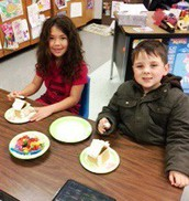 First grade had fun making gingerbread houses!