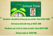 School Hours/Horario de la escuela