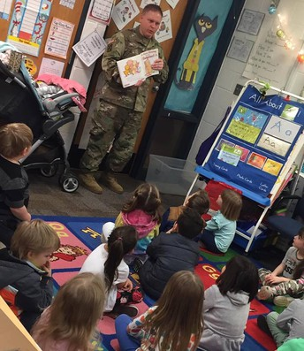 Special guest readers in Pre-k - First Sergeant Smith