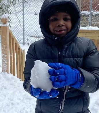 Elijah Marshall perfecting a snowball...❄️