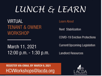 Virtual Workshop for Owner and Tenants/ Taller informativo Virtual Para Dueños e Inquilinos