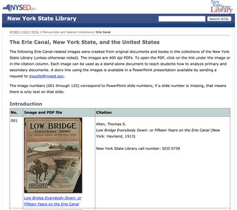 NY State Library Erie Canal Documents