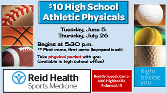 $10.00 JH and HS Athletic Physicals this Tues June 5th