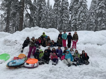 3rd graders enjoying snow shoeing & snow cave making last Friday near Lassen Park