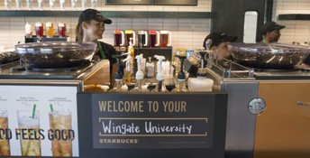 Starbucks in the new Crowder Welcome Center in the Dickson Palmer Building