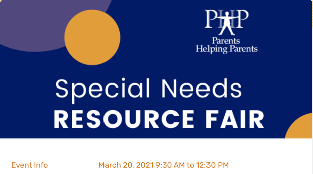 Virtual Special Needs Resource Fair, March 20 @ 9:30am from Parents Helping Parents