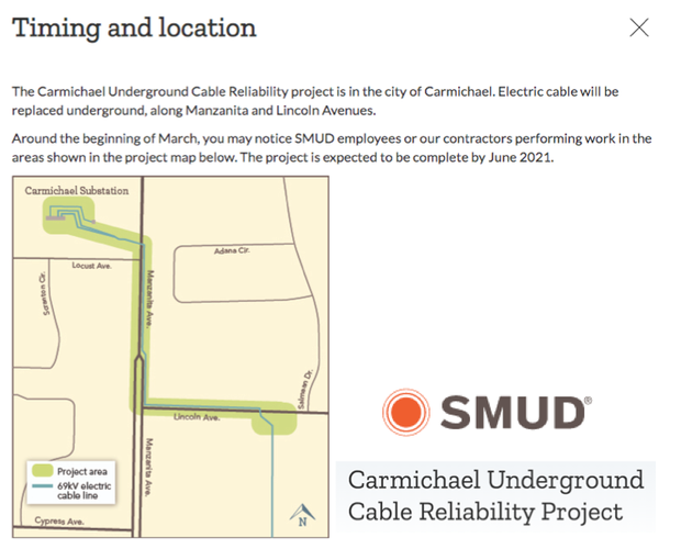 SMUD Construction Information. Manzanita/Locus March to June. Click for details.