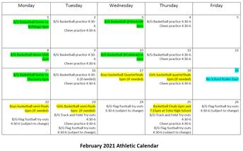 February Athletic Calendar