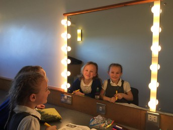 The girls take advantage of their own professional dressing room