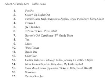 Adopt-a-Family Raffle Baskets