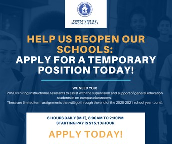 PUSD is Hiring Instructional Assistants