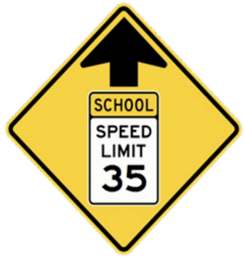 CAUTION: The speed limit is NOW 35mph in front of the school on county road 23