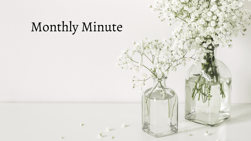"""A plain white background with two vases of babies breath flowers on the right hand side in clear vases. The words """"Monthly Minute"""" are in black at the top"""