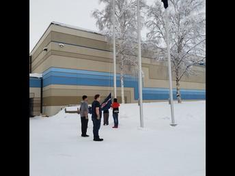 Winter Flag Duty in Short Sleeves