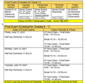 Trimester 3 Finals Schedule