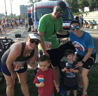 Photo shows three adults and two children anticipating their frozen treat after the Spirit Sprint 5k. Shown are Mrs. King and her son and Mrs. Brewer-Wood, her husband, Joe and their son.