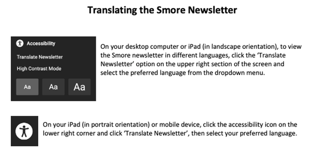 On your desktop computer or iPad (in landscape orientation), to view the Smore newsletter in different languages, click the 'Translate Newsletter' option on the upper right section of the screen and select the preferred language from the dropdown menu.