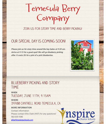 Storytime and Berry Picking at the Temecula Berry Company!