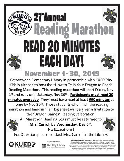 Reading Log for KUED Reading Marathon
