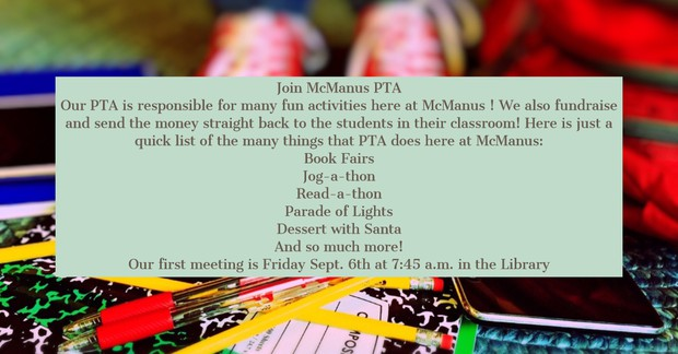 Background of school supplies/ PTA events listed