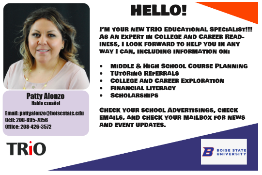Image of Patty from TRIO, includes her contact info and how she can help students.