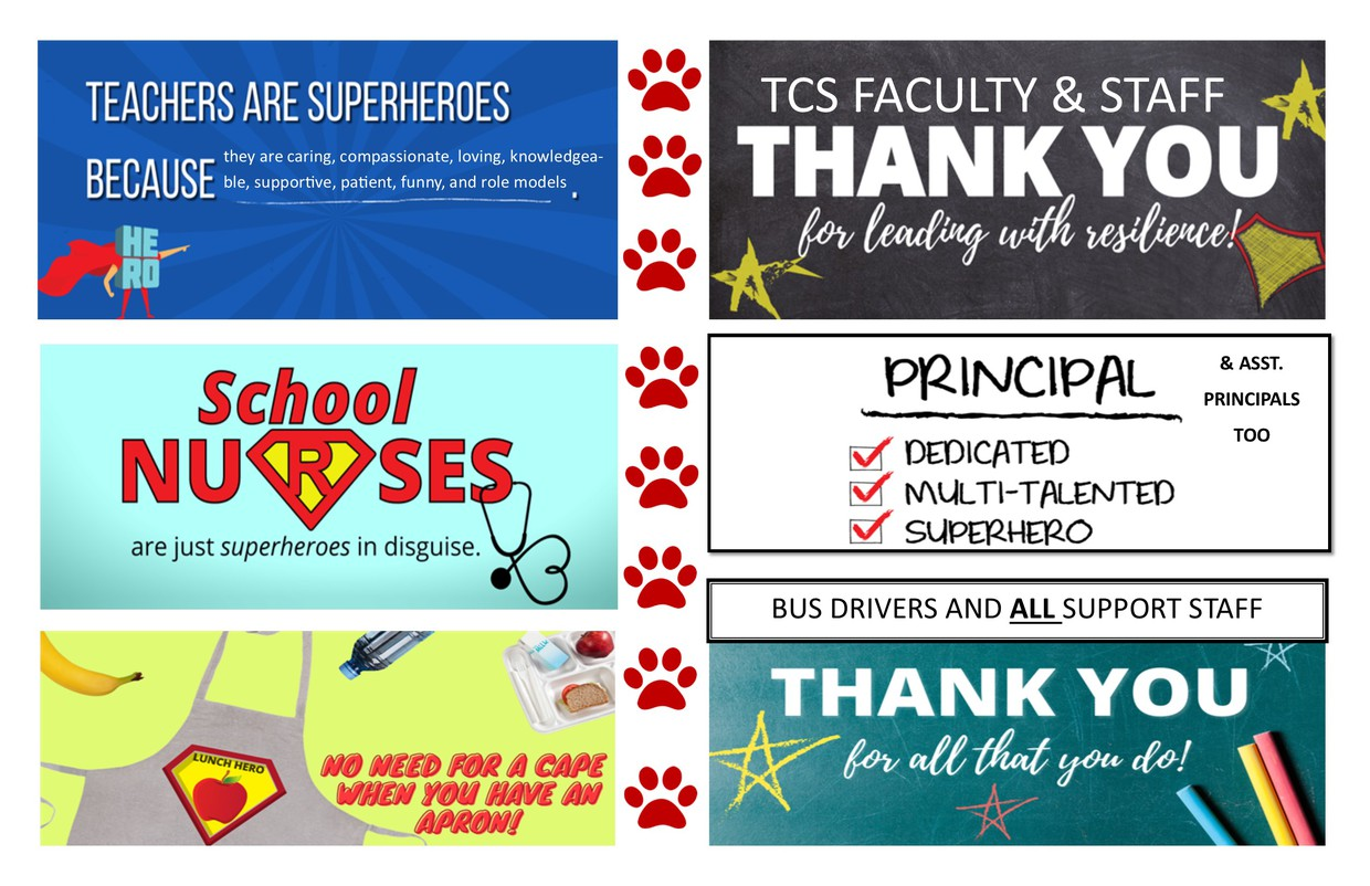 Logos from the ALSDE congratulating education workers as heroes
