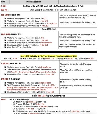 11.25 Staff Institute Schedule