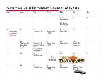 Calendar of events for November