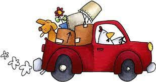 red truck driven by a chicken with moving items and dog in the back
