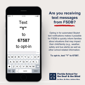 """Smartphone with the words """"Text 'Y' to 67587 to opt-in."""""""